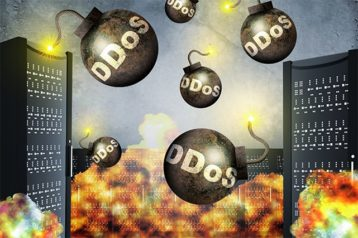 An image featuring volume based DDoS attack concept