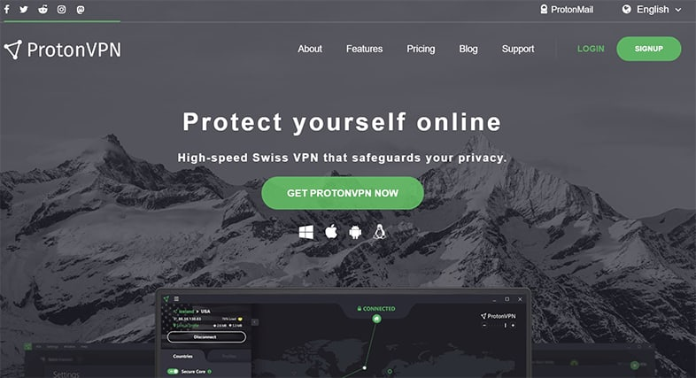 An image featuring the homepage of ProtonVPN