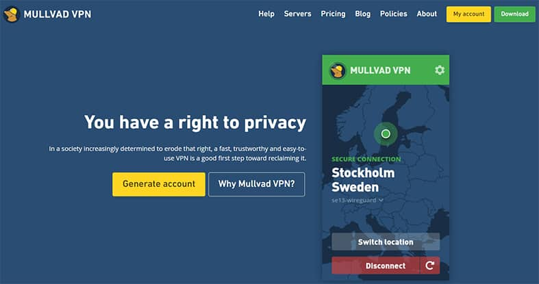 An image featuring the homepage of Mullvad VPN
