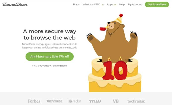 An image featuring the homepage of TunnelBear