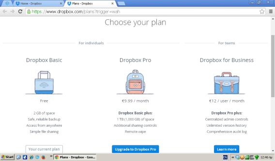 DropBox Prices