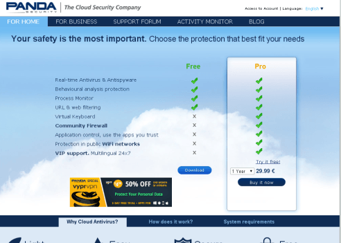 Panda Cloud Antivirus Free features
