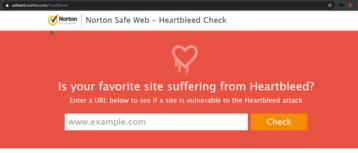 screenshot of heartbleed checker webpage