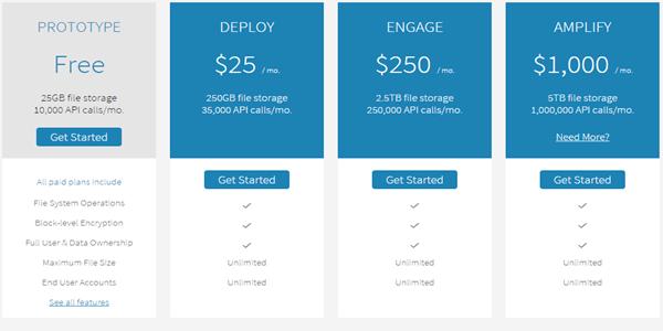 Bitcasa Cloud Storage Platform Pricing