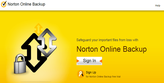 screenshot of Norton Online Backup website