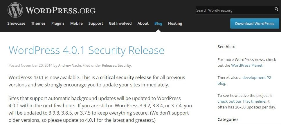 WordPress Unveils Version 4.0.1 and Fixes all Security holes in Earlier Versions