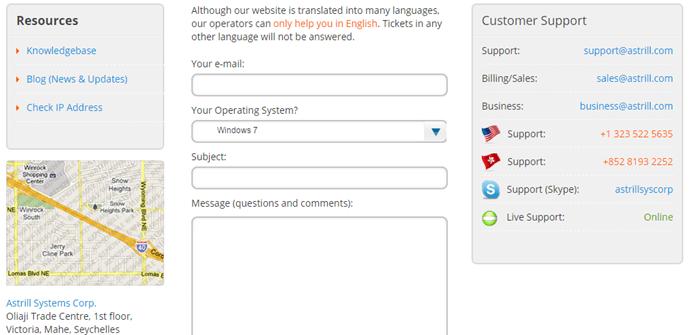 Astrill VPN Support