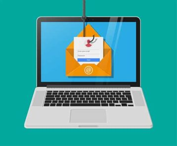 An image featuring a secure email account concept with a drawing of a laptop and opened mail on it