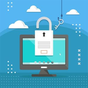 An image featuring a drawing of a monitor with a lock and key on top of it representing account activity concept