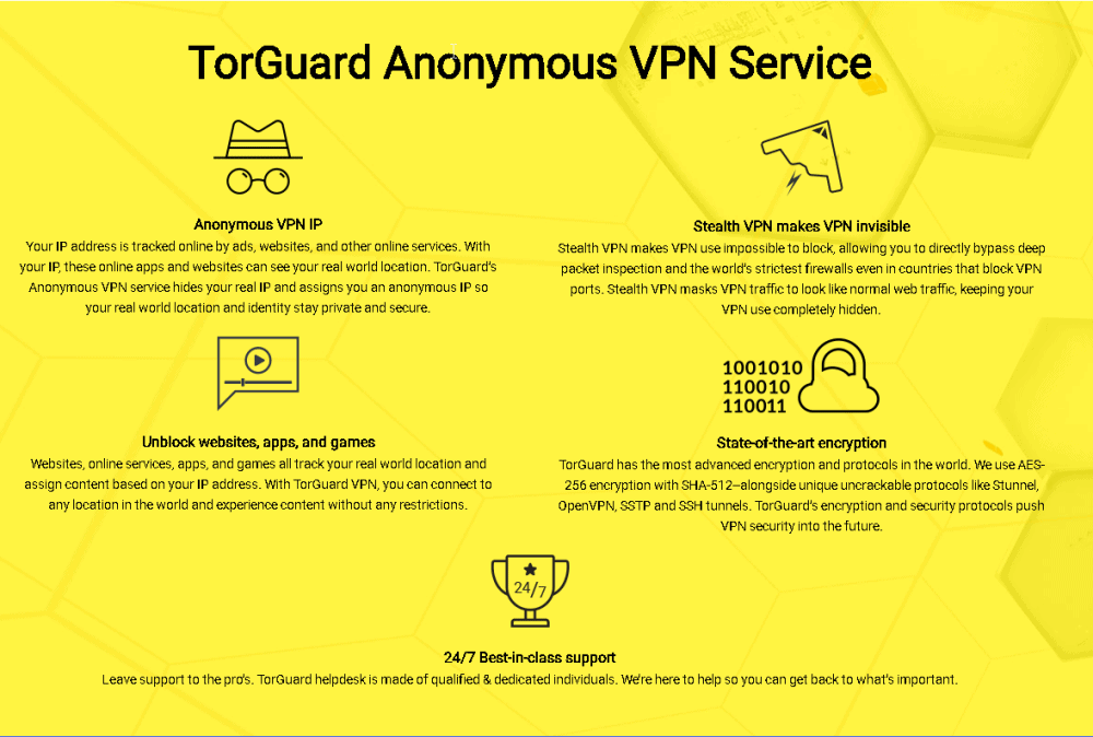 An image featuring information about the TorGuard Anonymous VPN service