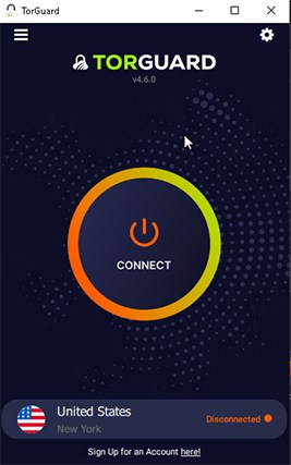An image featuring the TorGuard App being connected to United States VPN