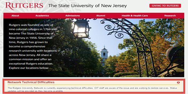 Denial Of Service Attack again Rutgers University No Internet