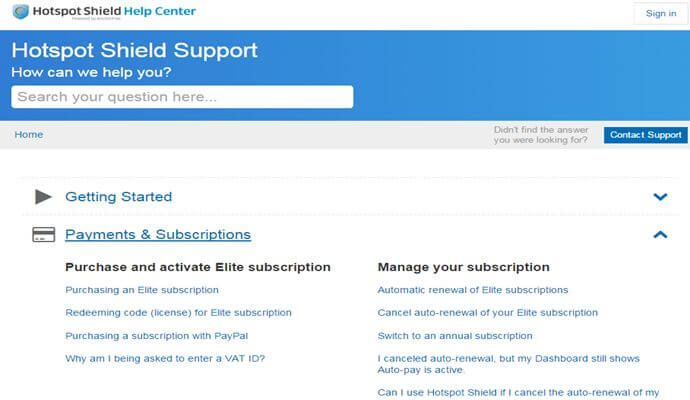 HotSpot Shield Support
