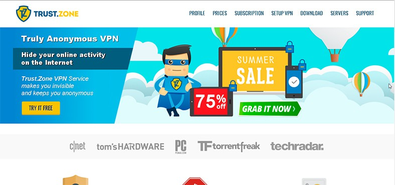 An image featuring the homepage of Trust Zone VPN