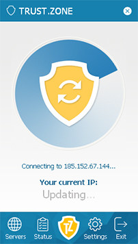 An image featuring the Android client app of Trust Zone VPN