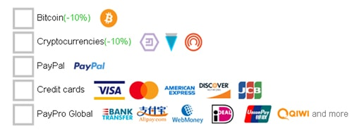 An image featuring the payment methods of Trust Zone VPN