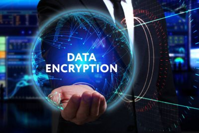man working in the field of the future, he sees the inscription: data encryption