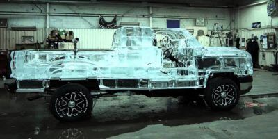 A truck with upper body made of ice