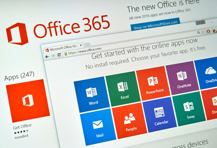 Microsoft Office 365 on PC screen. Microsoft Office is one of the most popular office suite software.