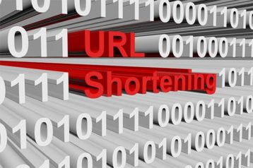 An image featuring text that says URL shortening with binary code next to it