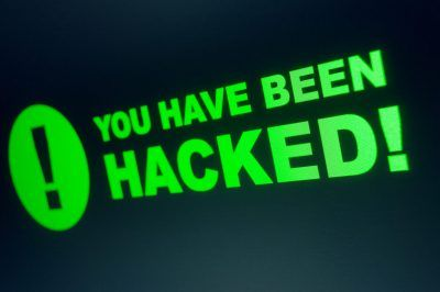 "text with black background that says ""you have neen hacked"""