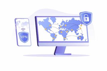 An image featuring a VPN concept with a PC and a phone being connected to a VPN