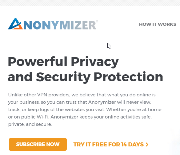 anonymizer privacy button