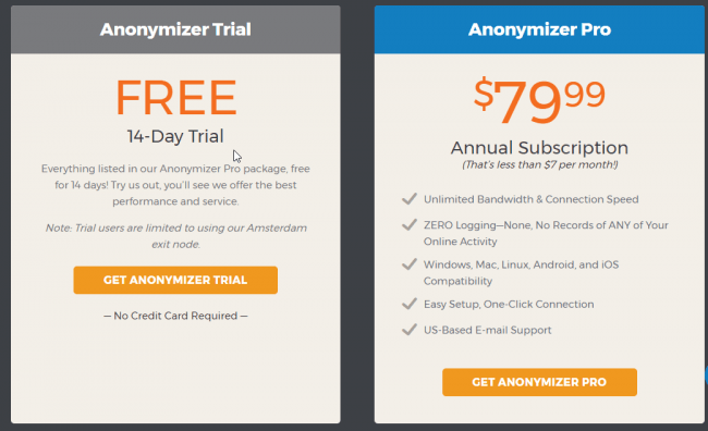Anonymizer-price