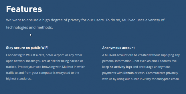 Mullvad-VPN-features