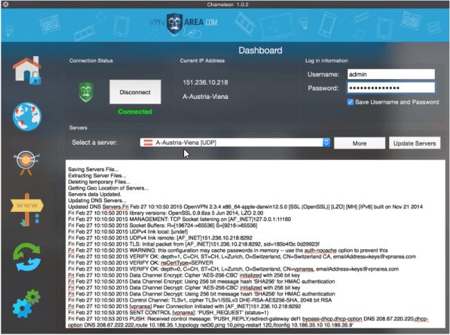 VPNArea-user-interface