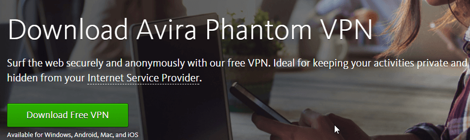Avira Phantom VPN Homepage