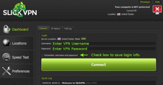 slickVPN user interface