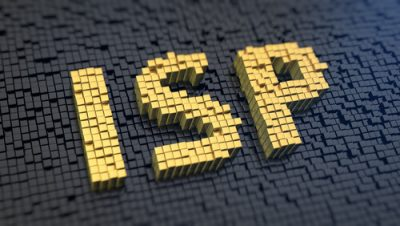 Acronym 'ISP' of the yellow square pixels on a black matrix background