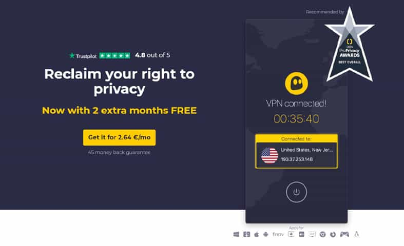 An image of the CyberGhost VPN homepage