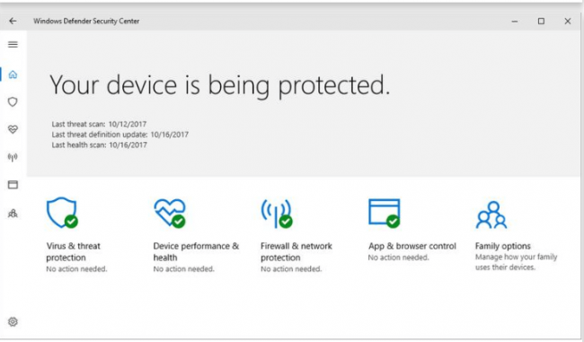 Microsoft Windows Defender Security Center Review