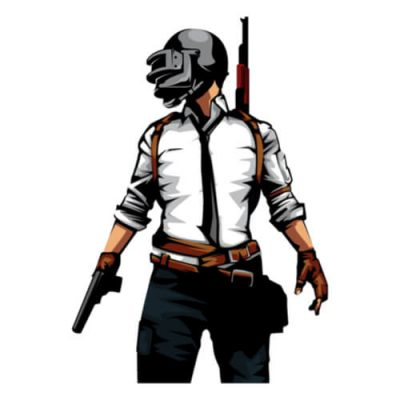 An image of a soldier holding a pistol in his right hand and wearing a helmet from the PUBG game