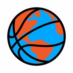 An image featuring a basketball that is world international colored representing international NBA concept