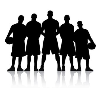 An image featuring 5 shadows representing a basketball team concept