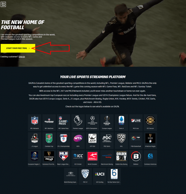 DAZN Free Trial Page