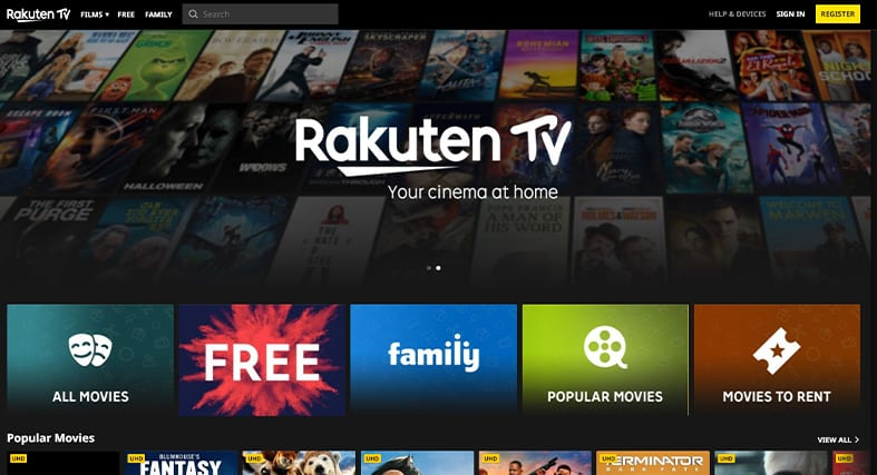 A screenshot of Rakuten TV