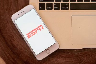 ESPN logo on an iPhone screen.