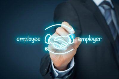 Employee and employer drawn handshake.