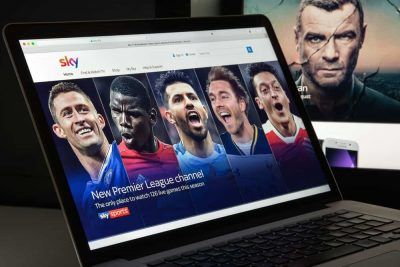 Football players on a sky website
