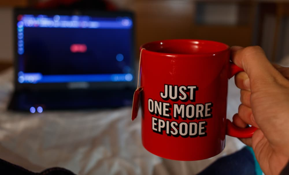 "mug with the text ""just one more episode"""