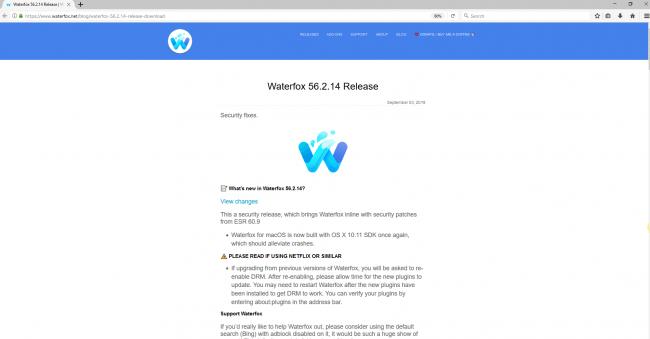 Screenshot of Wterfox browser
