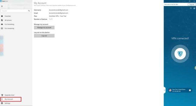 "ZenMate VPN service ""My Account"" option screenshot"
