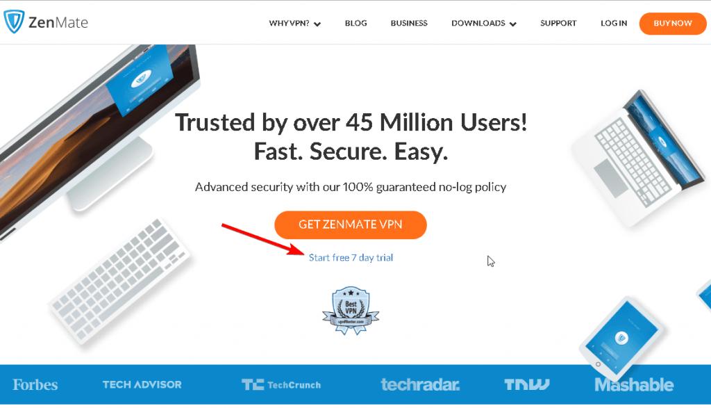 ZenMate official website screenshot
