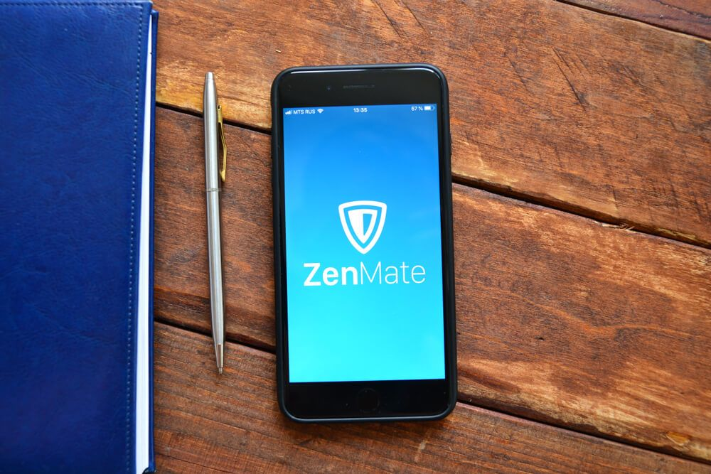 a phone with Zenmate logo as screen wallpaper