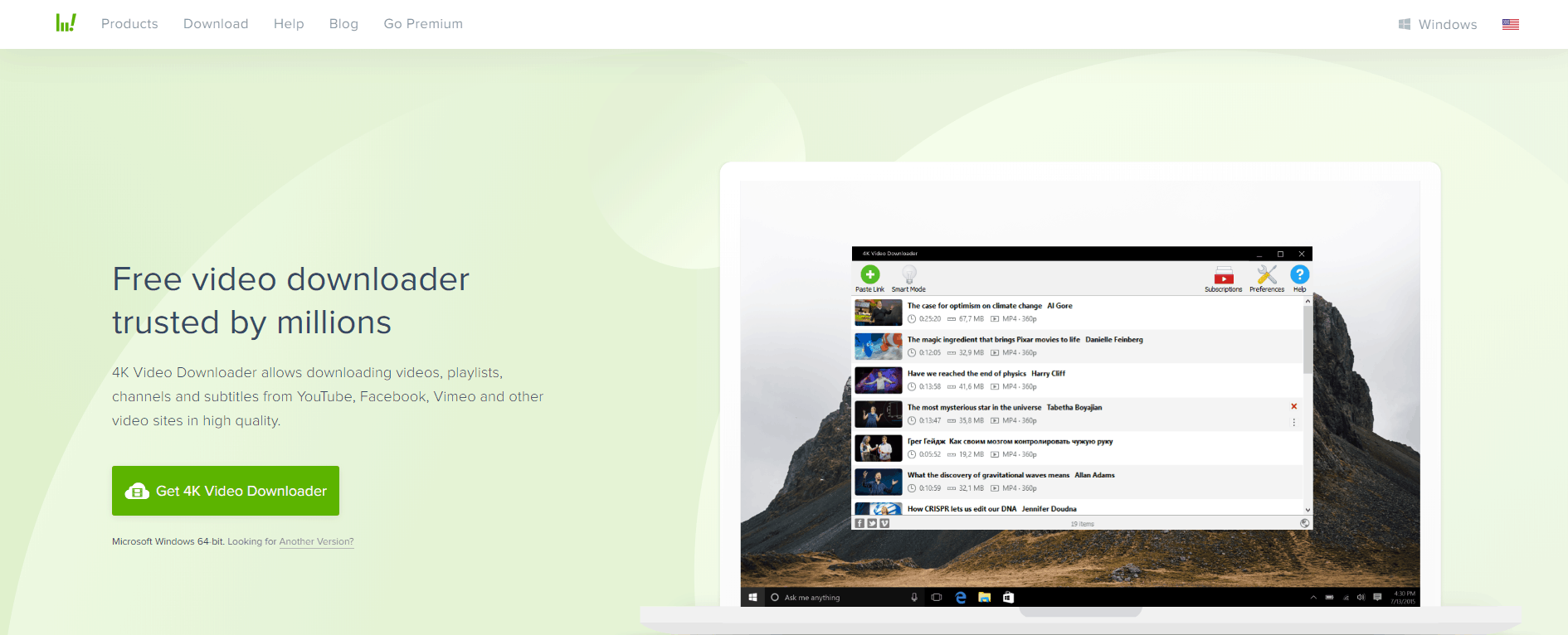 4K Video Downloader Homepage Screenshot
