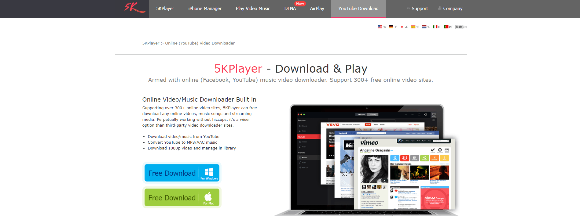 5KPlayer Homepage Screenshot